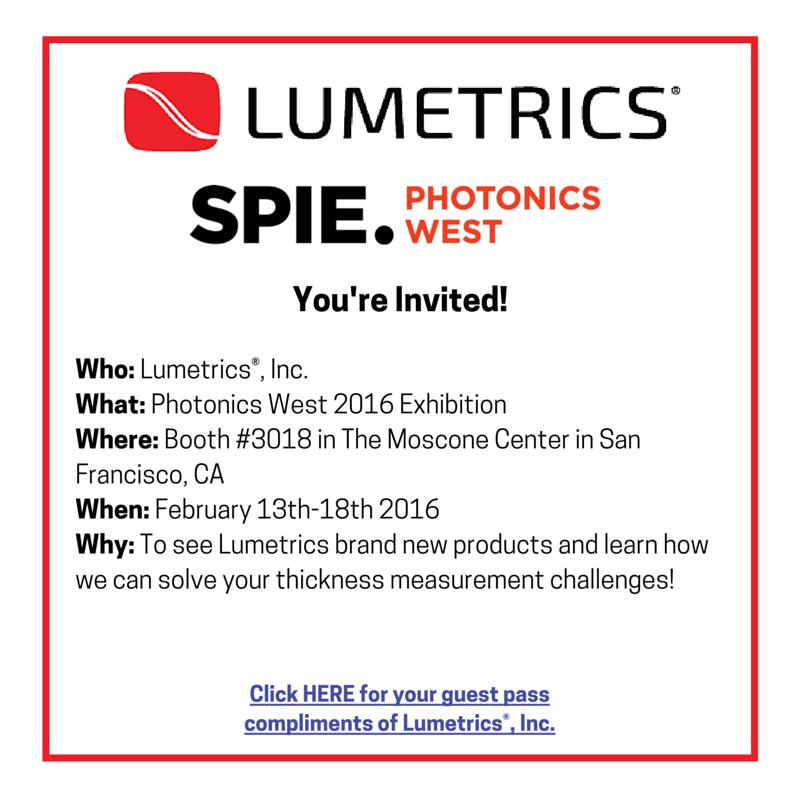 photonics west 2016, Thickness Measurement, non-contact thickness measurement, optical thickness measurement