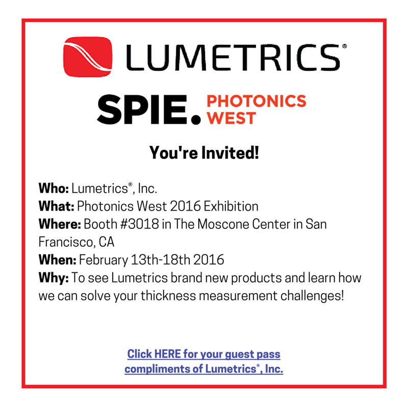 photonics west 2016, Thickness Measurement, non-contact thickness measurement, optical thickness measurement